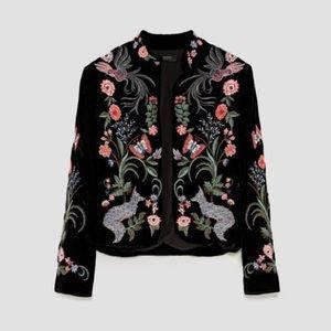 Zara black embroidered floral jacket